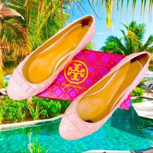 Tory Burch Marion quilted pink ballet flats